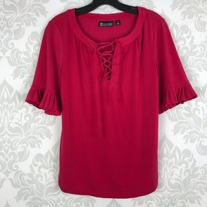 7th Avenue New York & Co Pink Lace up Blouse